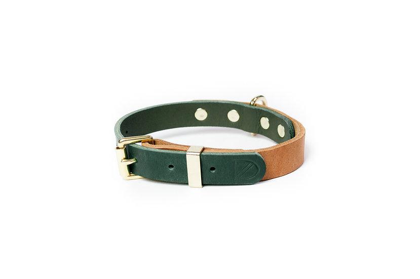 Two-Tone Leather Collar Tan/Green