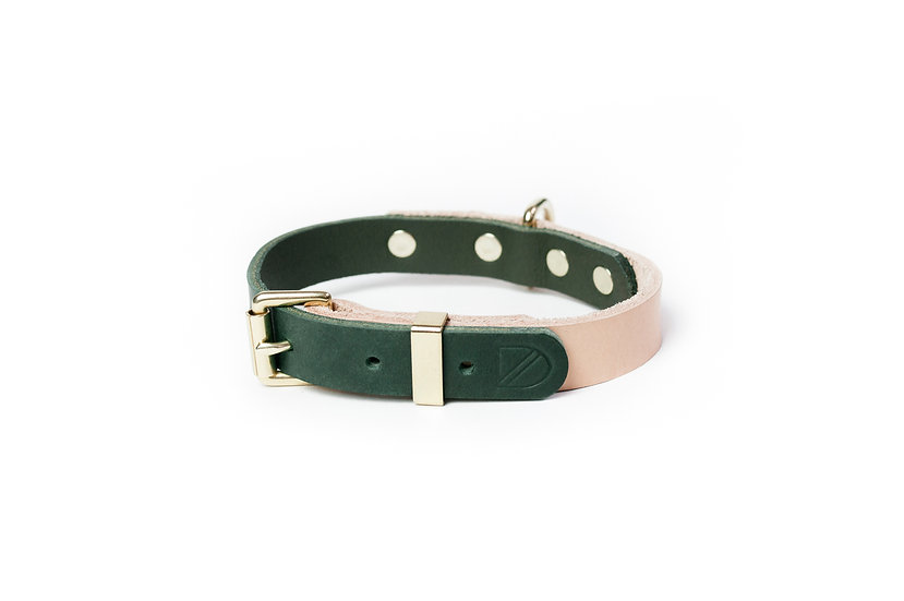 Two-Tone Leather Collar Natural/Green