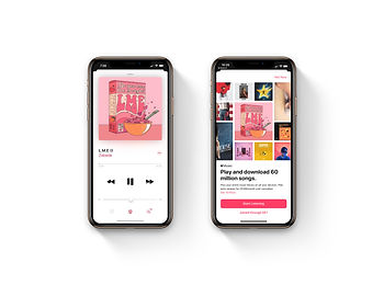 apple music and home screen white backgr