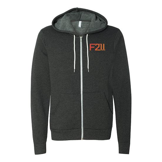 Gray & Orange Zip Up Hoodie