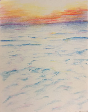 Sunset at Sidney Ali beach   Colored Pencils