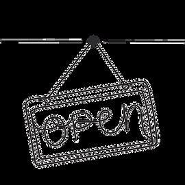 Open translator business sign