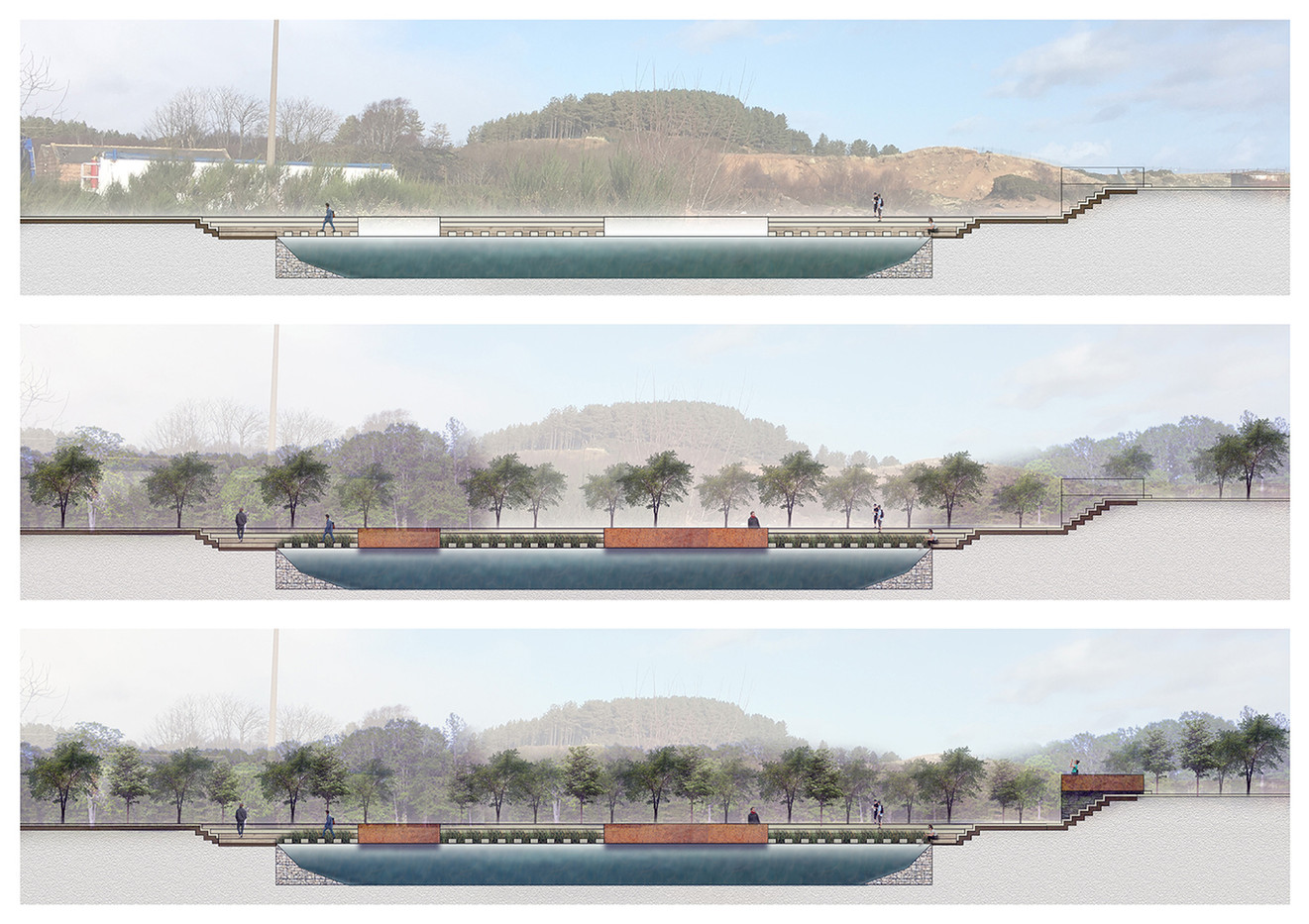 Garnock Valley: Retention Basin Visualisation, Pencil Sketch and Photoshop, 2020.