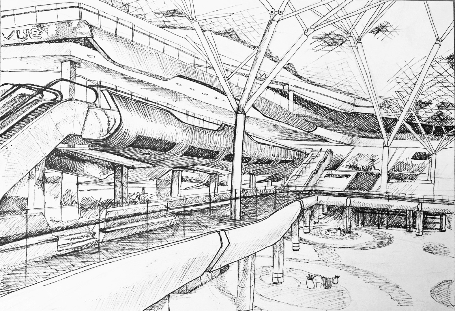 Observational Sketch, Westfield London