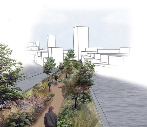 London Docklands: Green Bridge Visualisation, Photoshop and Sketch-up, 2019.