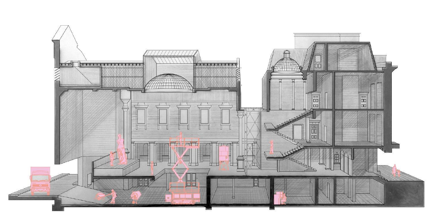 Sectional Perspective of a Stonemasonry School in The Freemasons Hall, graphite, 2020