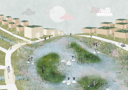 Look at a fluid-flooding, nature-inclusive residential area, Digital Collage, 2020