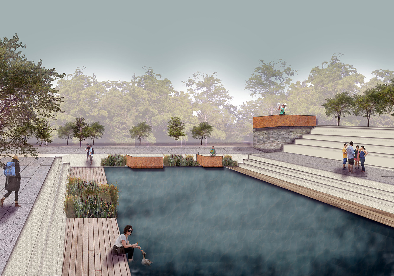 Garnock Valley: Retention Basin Sections, CAD and Photoshop, 2020