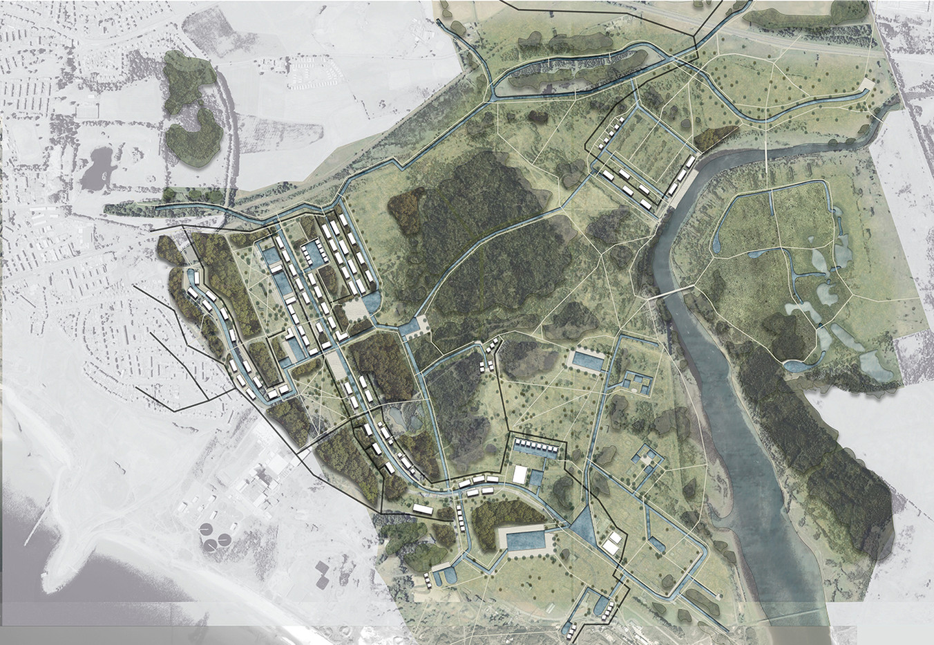 Garnock Valley: Spatial Masterplan, Pen sketch, Illustrator and Photoshop, 2020.