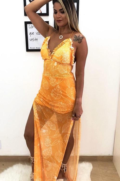 Vestido Fenda Tule