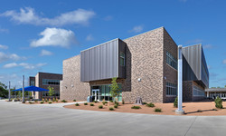 East facade with outdoor classroom