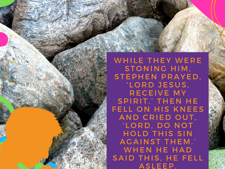 Stephen Prays As He Is Stoned