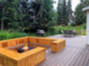 Trex deck with fireplace and bench anchorage alaska
