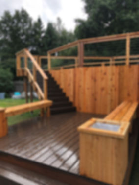 Composit deck with cable rail and cedar bench anchorage alaska