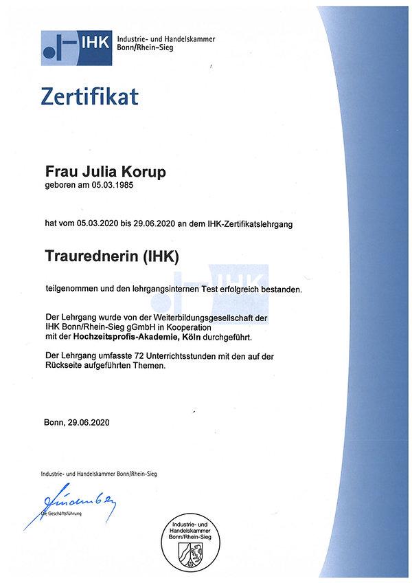 Zertifikat Seite 1 Freie Trauredner Berl