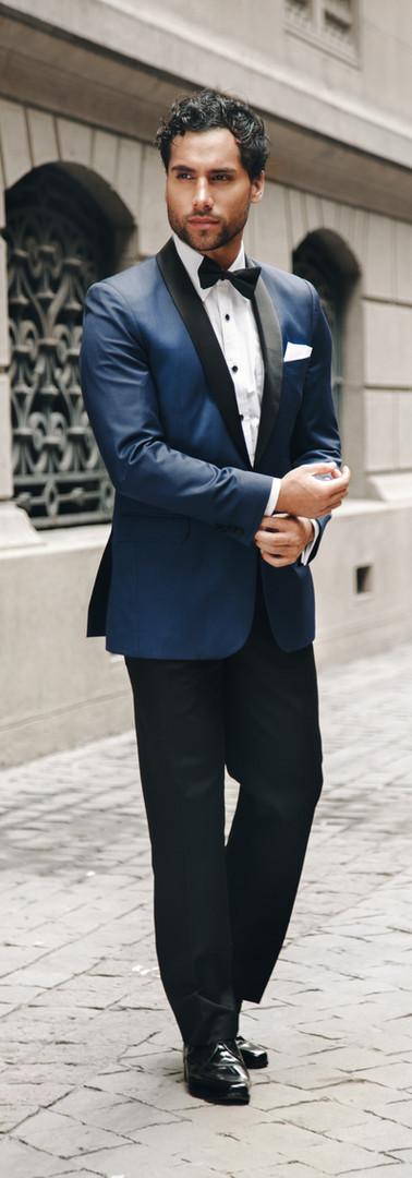 Tuxedo Solapa Smocking Azul Faja