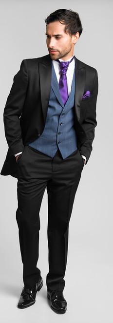 Levita Semi Chaqué Negro Chaleco Azul