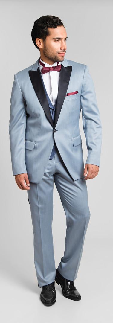 Tuxedo Solapa Pta Gris Plomo Chaleco Cuadro Azul