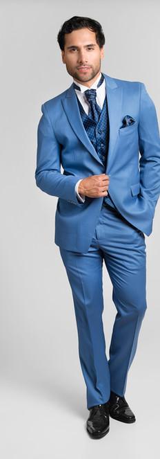 Tuxedo Solapa Pta Celeste Chaleco Azul