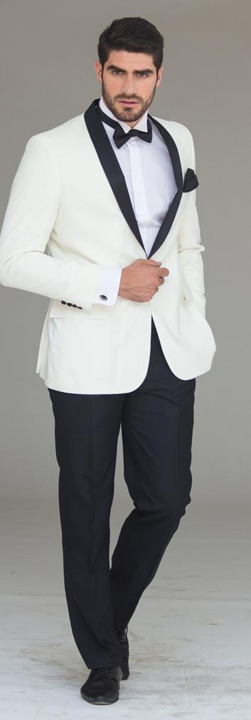 Tuxedo Solapa Smoking Blanco