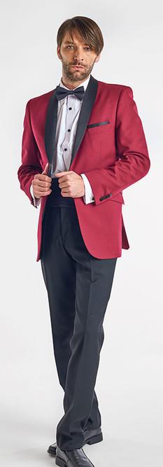 Tuxedo Solapa Smoking Burdeos