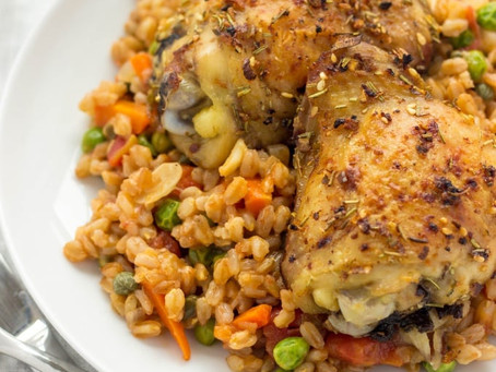 A Wintery and Warming Main Dish: Slow Cooker Chicken with Farro and Veggies