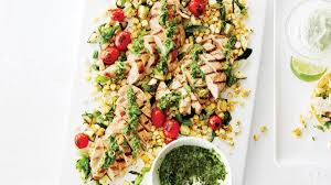Cool Summer Recipes: Basil Lime Chicken with Grilled Vegetables & Herb Sauce