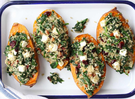 Roasted Sweet Potatoes Stuffed with Quinoa and Spinach (just OMG!)