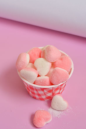 Pink and white heart shaped gelatin cand