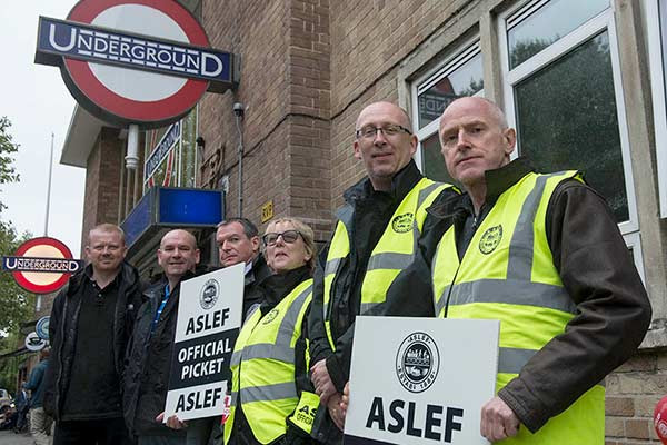 ASLEF members on strike on the Central line in 2104.