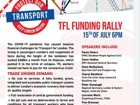 TfL Unions demand funding to protect services and jobs.