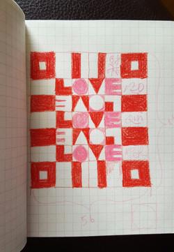 LOVE Letters pencil sketch
