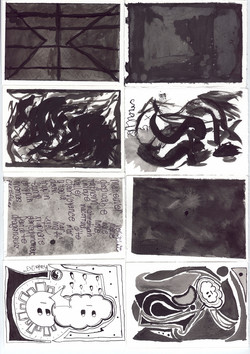 Collage of black and white abstracti
