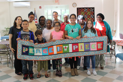 Group with banner