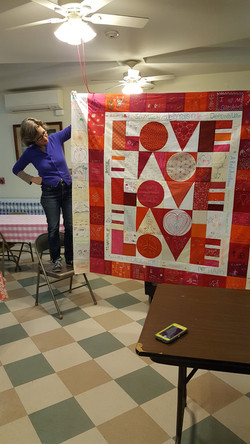 Lizzy with LOVE quilt in progress