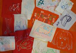LOVE fabric art pile