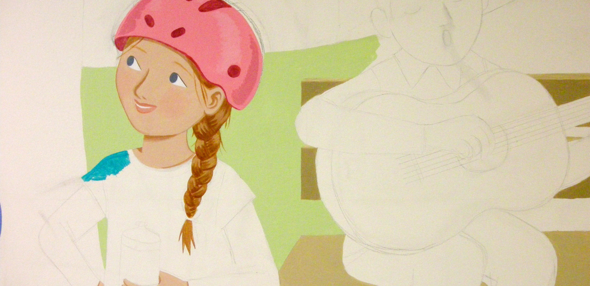 Girl with helmet detail