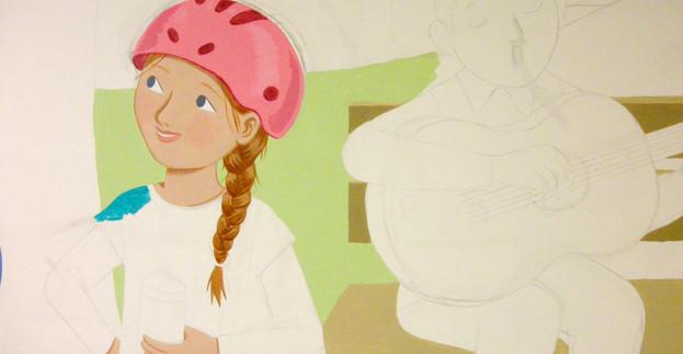 Girl with helmet detail