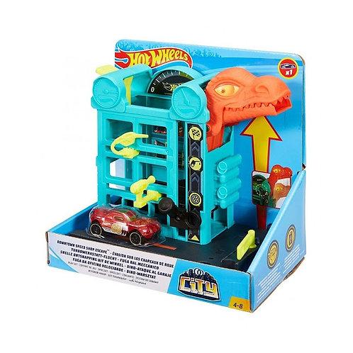 Hot Wheels - Taller Mecanico con Dinosuario
