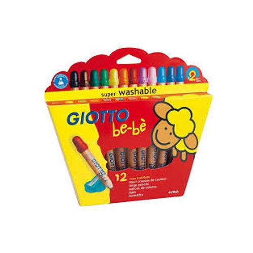 Crayones Giotto Bebe cuerpo de Madera + Sacapunta