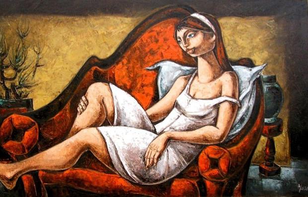 Sul divano rosso