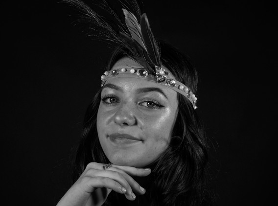 BW girl with feathers.jpg