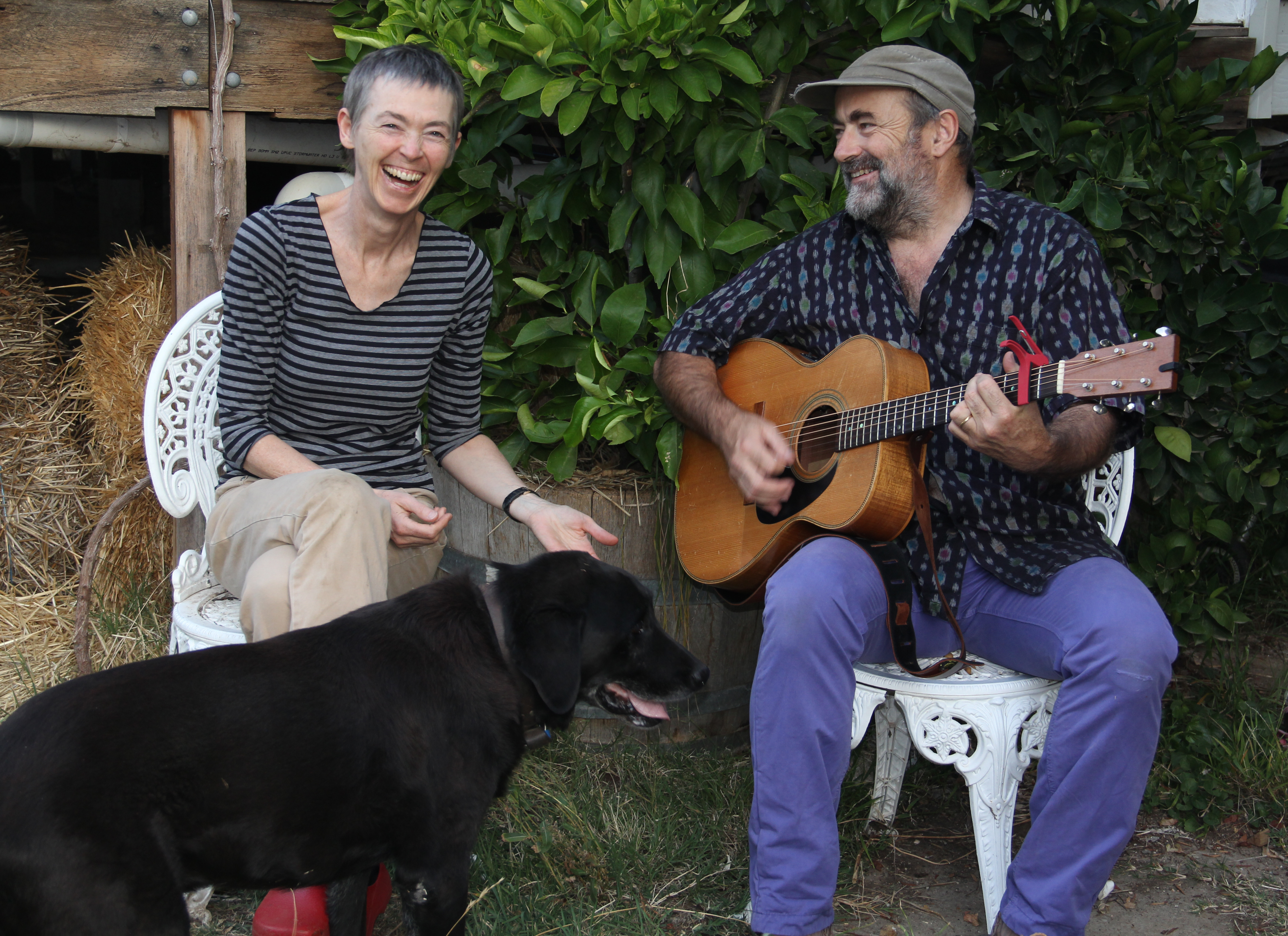 Jane laughing Caspo & James with guitar