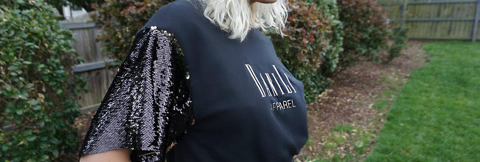 Sequin Cropped Sweatshirt - Black