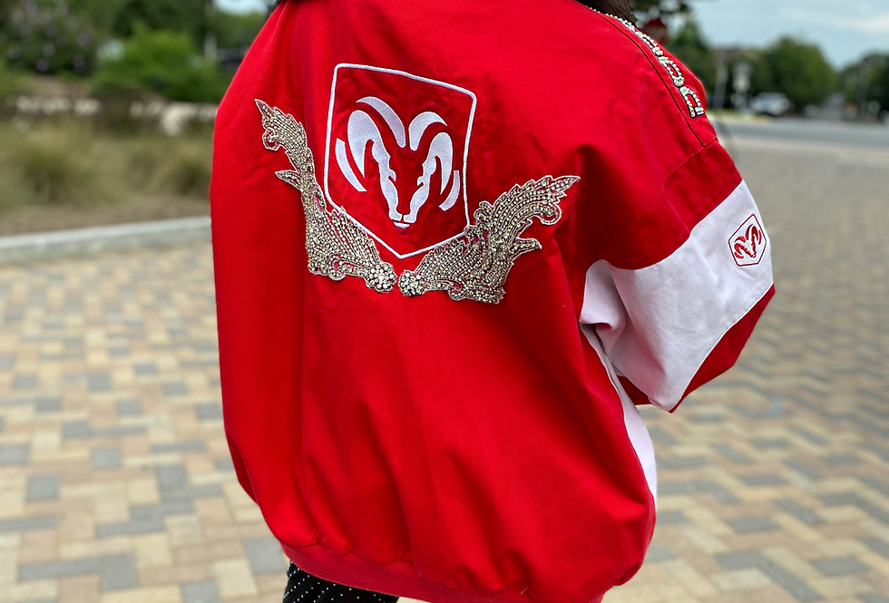 Crystal Vintage Dodge Bling Racing Jacket