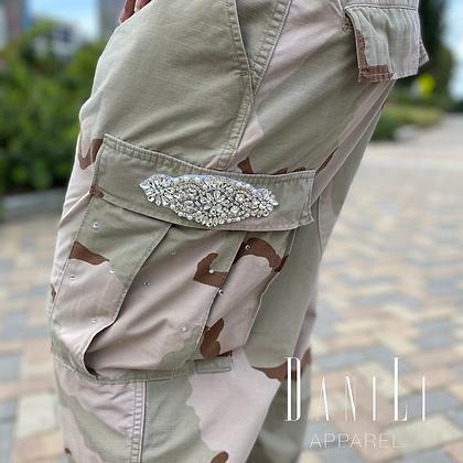Vintage Crystal Camo Pants - Tan