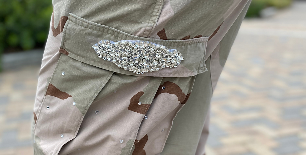Vintage Crystal Camo Pants - Tan