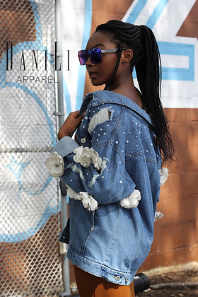 Ivory Flower Denim Jacket