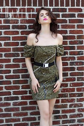 Abstract Denim Dress