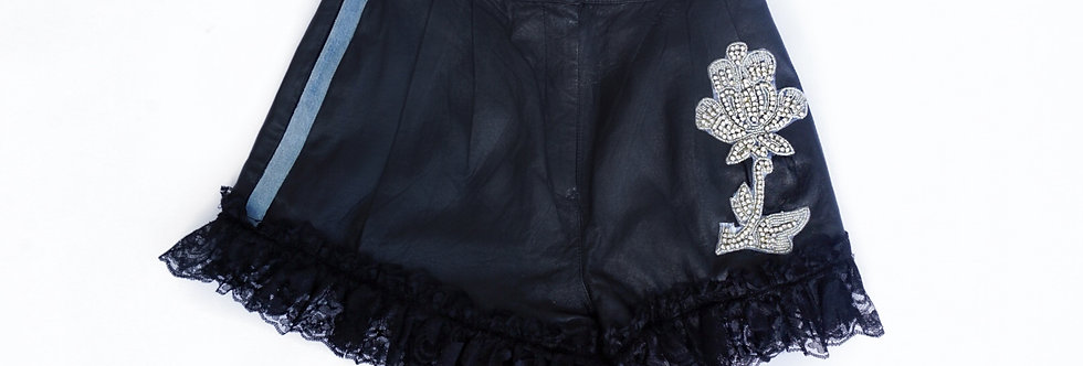 Crystal Leather Shorts